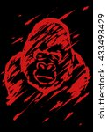 sadly gorilla illustration... | Shutterstock . vector #433498429