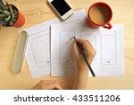 designer drawing mobile... | Shutterstock . vector #433511206