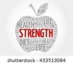 strength apple word cloud ... | Shutterstock . vector #433513084
