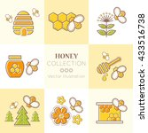 set of stroked honey emblems.... | Shutterstock .eps vector #433516738