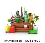 travel concept. leather sofa ... | Shutterstock . vector #433517539