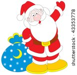 santa claus with sackful of... | Shutterstock .eps vector #43353778