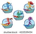 vector set of blue round frames ... | Shutterstock .eps vector #433539454