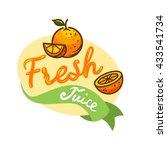 colorful fresh juice emblem ... | Shutterstock .eps vector #433541734