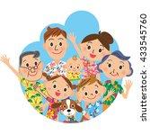 family in a hawaiian shirt | Shutterstock .eps vector #433545760
