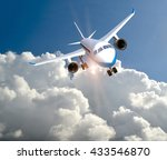 airplane above white clouds and ... | Shutterstock . vector #433546870