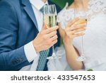 bride and groom holding wedding ... | Shutterstock . vector #433547653
