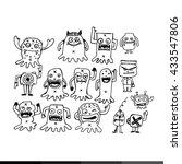 cartoon cute monsters... | Shutterstock .eps vector #433547806
