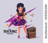 rock star girl playing her...   Shutterstock .eps vector #433563184