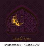 arab window with crescent moon... | Shutterstock .eps vector #433563649