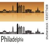 philadelphia skyline in orange... | Shutterstock .eps vector #433577608