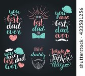 happy fathers day vintage logo... | Shutterstock .eps vector #433581256