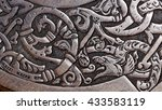 Small photo of Viking wood carving of a wolf