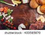 hamburger ingredients on a... | Shutterstock . vector #433585870
