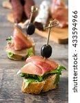 spanish serrano ham skewers... | Shutterstock . vector #433594966