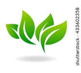 eco icon green leaf vector... | Shutterstock .eps vector #433602358