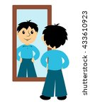 the boy looks in a mirror. clip ...   Shutterstock .eps vector #433610923