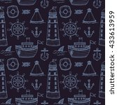 seamless pattern with cute hand ... | Shutterstock .eps vector #433613959