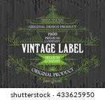vintage typographic label... | Shutterstock .eps vector #433625950