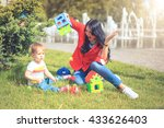 child play toy with mom in park ... | Shutterstock . vector #433626403
