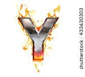metal letter on fire. 3d...   Shutterstock . vector #433630303
