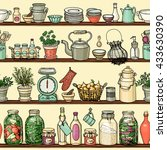 rustic kitchen vector seamless... | Shutterstock .eps vector #433630390