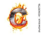 metal letter on fire. 3d...   Shutterstock . vector #433630756