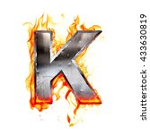 metal letter on fire. 3d... | Shutterstock . vector #433630819