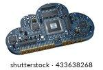 cloud cpu. electronic circuit... | Shutterstock . vector #433638268