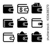 wallet icons set on white...
