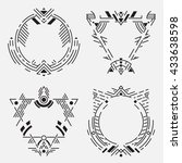 tribal frame set.vector linear... | Shutterstock .eps vector #433638598