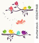 Stock vector colorful birds on branches background 433639468