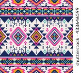 retro color tribal navajo... | Shutterstock .eps vector #433646599