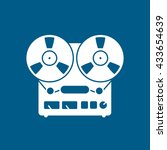 tape recorder icon on blue... | Shutterstock .eps vector #433654639