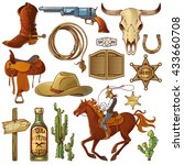 wild west elements set with... | Shutterstock .eps vector #433660708