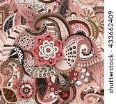 floral seamless pattern. vector ... | Shutterstock .eps vector #433662409