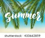 summer hand drawn brush... | Shutterstock .eps vector #433662859