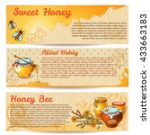horizontal honey banner set... | Shutterstock .eps vector #433663183