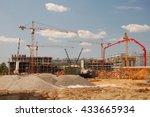 construction cranes on a blue...   Shutterstock . vector #433665934