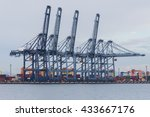 large harbor cranes for loading ... | Shutterstock . vector #433667176