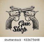 crossed pistols. hand drawn...