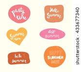 summer stickers vector set.... | Shutterstock .eps vector #433677340