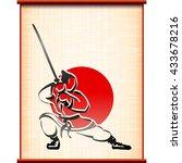samurai with katana in fighting ...   Shutterstock .eps vector #433678216