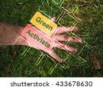human hands touch the green... | Shutterstock . vector #433678630