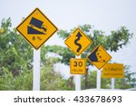 various yellow traffic sign on... | Shutterstock . vector #433678693