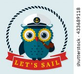 let's sail  card with pretty... | Shutterstock .eps vector #433689118