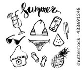 hand drawn ink summer design... | Shutterstock .eps vector #433691248