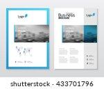 blue brochure cover design... | Shutterstock .eps vector #433701796