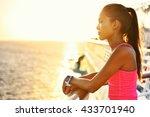 active woman relaxing after run ... | Shutterstock . vector #433701940