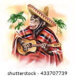 funny monkey in a mexican... | Shutterstock . vector #433707739